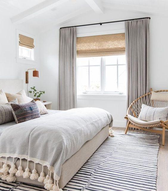 Beautiful boho beach house master bedroom #home #style #bohobedroom #whitebedroom