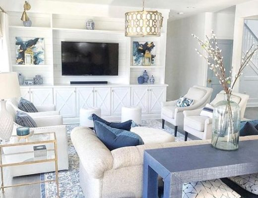 Beautiful blue and white transitional living room - MK Interior Design