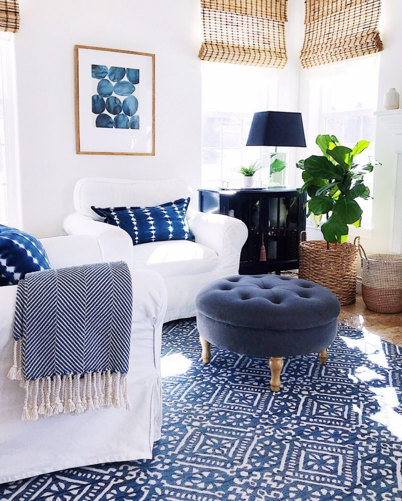 Blue and white in the living room - jane at home #home #decor #style #ideas #design #coastal