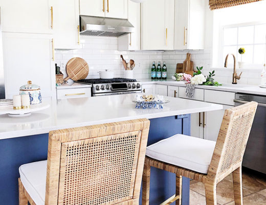 With our new counter stools from Serena and Lily our kitchen feels complete and ready for summer entertaining
