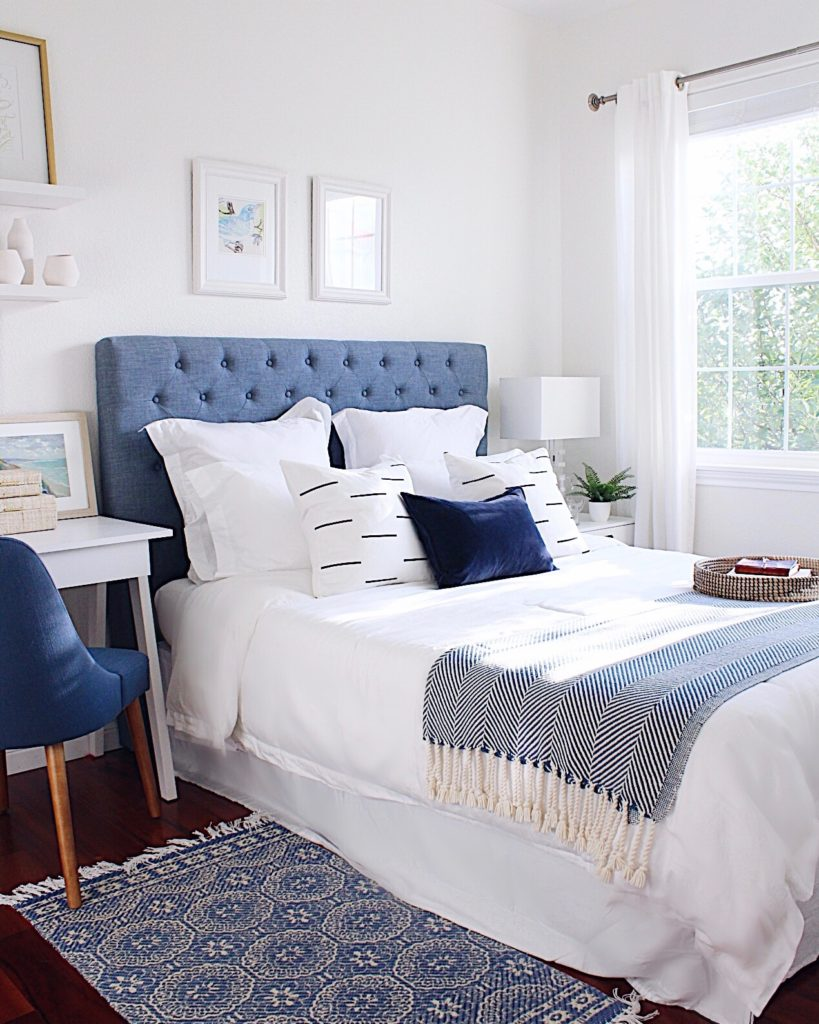 Blue and white guest bedroom - how to declutter your home