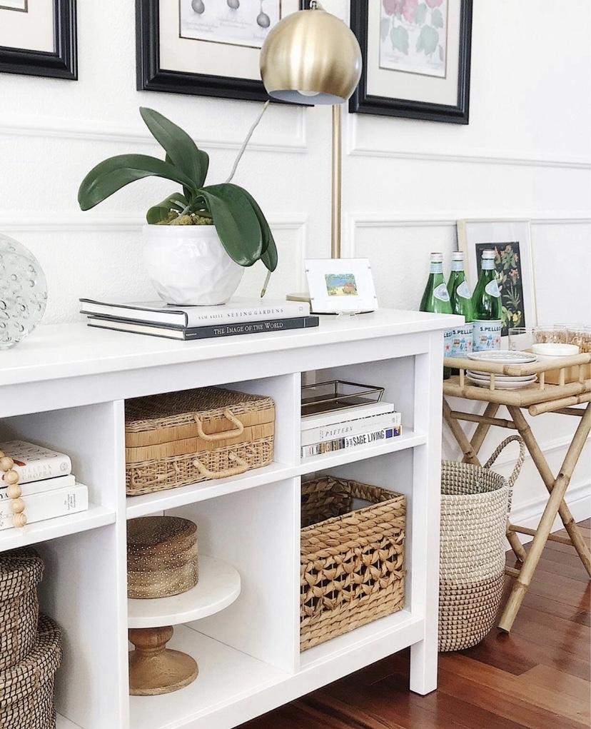 I love using baskets to make our home feel more cozy #livingroomdecor #shelfdecor #organization