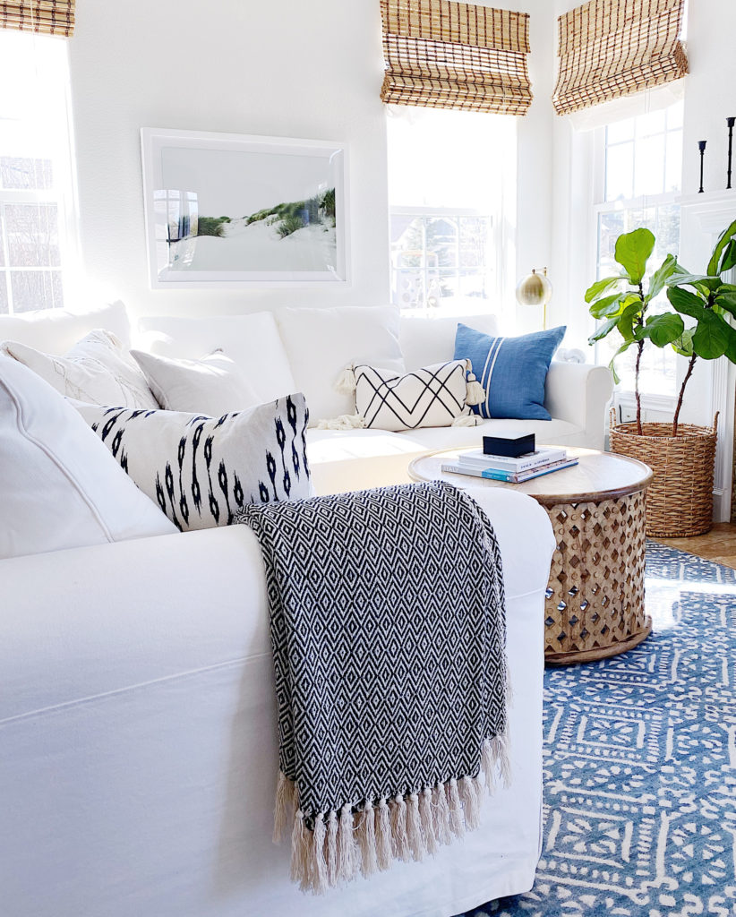 Coastal home decor in the living room - jane at home