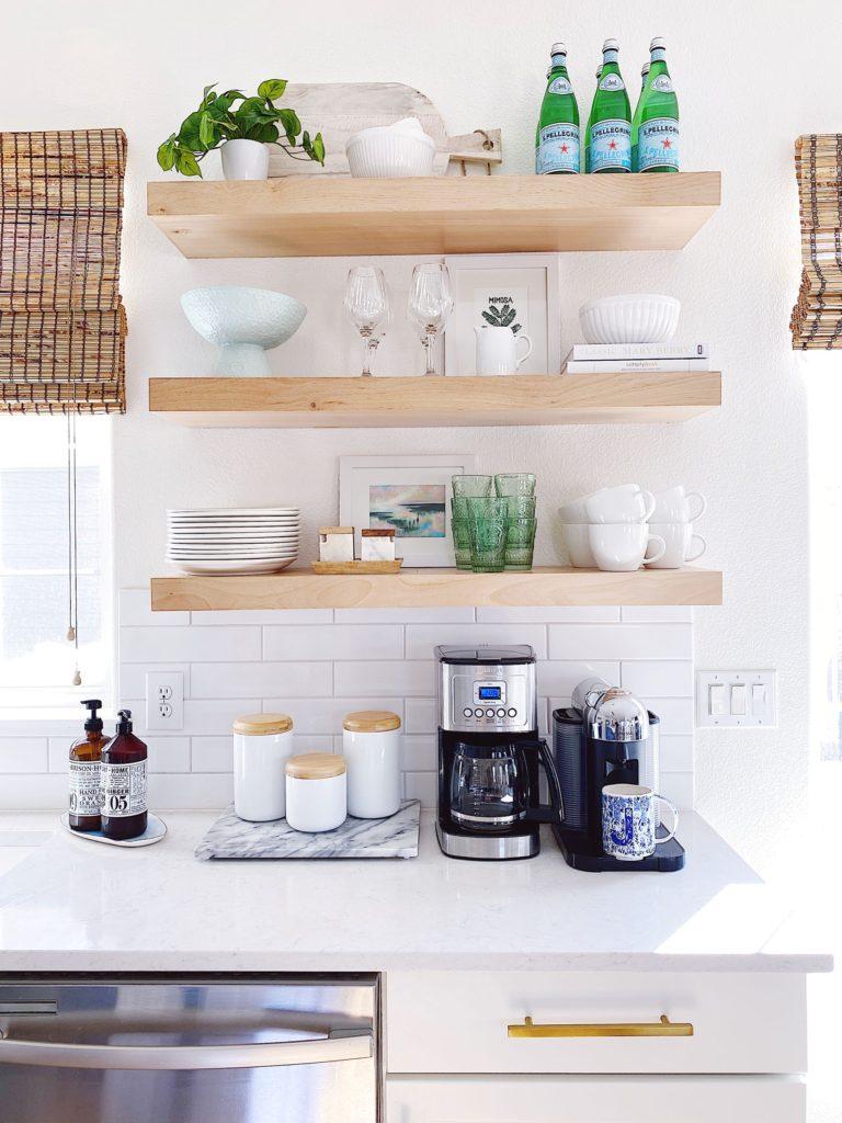 open shelving - jane at home #kitchen #kitchendecor #kitchendesign #breakfastnook #coastaldecor #kitchenideas