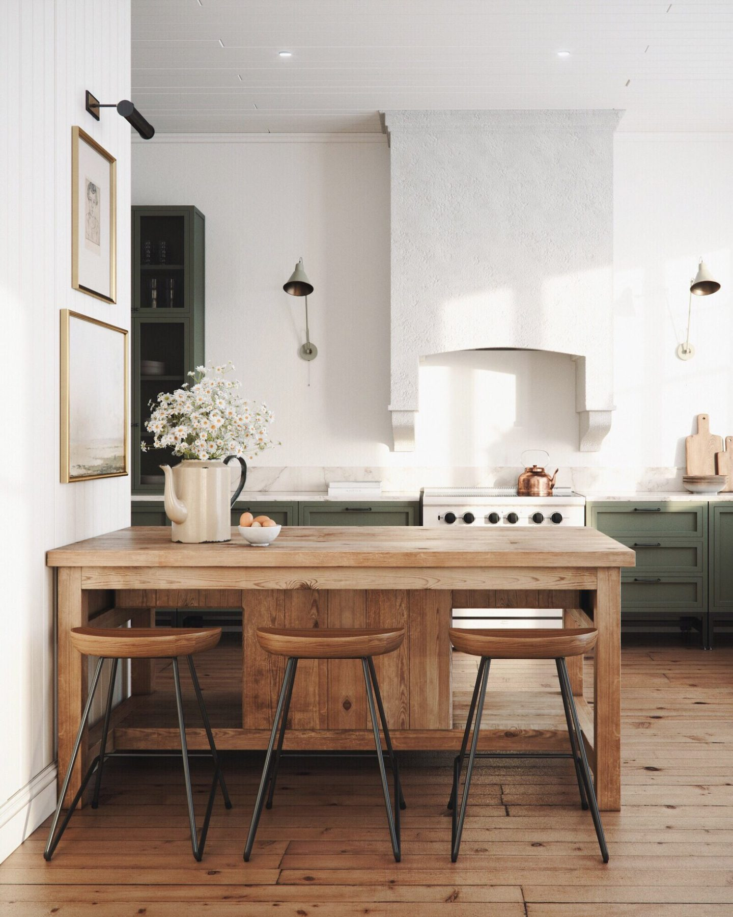 Design and decor trends for 2021: kitchen with rustic wood island and green lower cabinets #home #style #kitchen #design Anthology Interiors