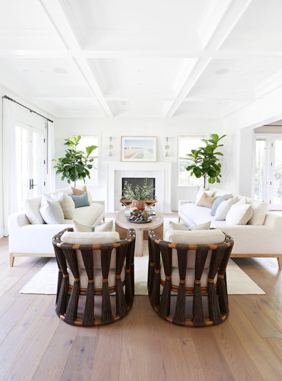 Beautiful light filled modern coastal living room design with soft neutral aesthetic and unique woven chairs #home #style #design #ideas #decor #livingroomdecor Pure Salt