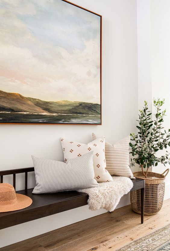 Design and decor trends for 2021: Beautiful entryway design with warm colors and a touch of Scandinavian style Lindye Galloway #home #decor #ideas #entry #foyer Lindye Galloway
