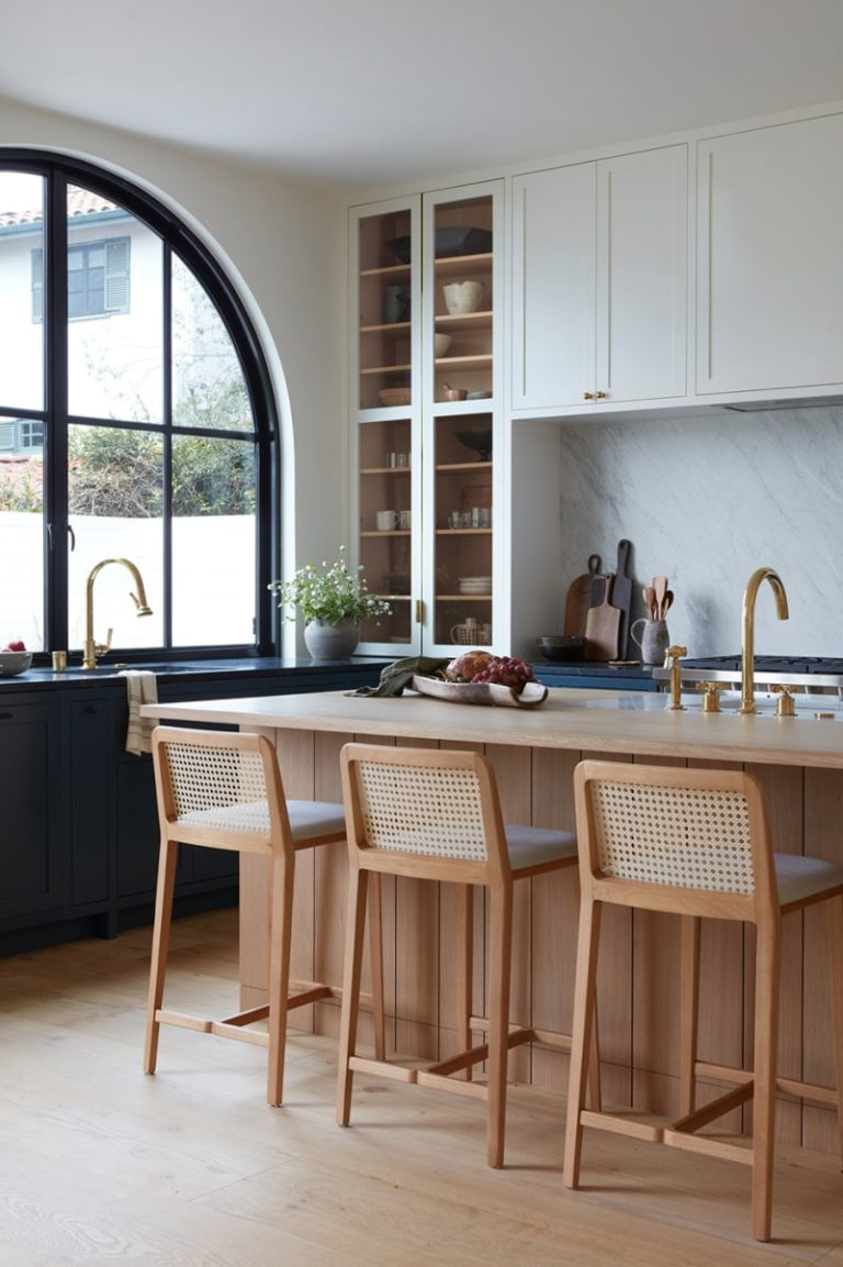 Design and Decor Trends for 2021:natural and woven bar and counter stools in the kitchen - home of Ashley Lewis