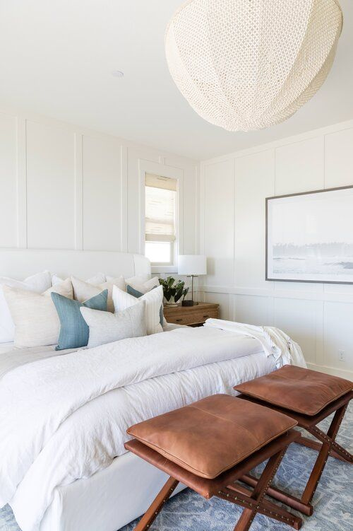 Beautiful small bedroom idea with coastal decor and modern light fixture - Pure Salt Hilltop Design   luxurious bedroom   master bedroom   boho bedroom   small bedroom   coastal bedroom