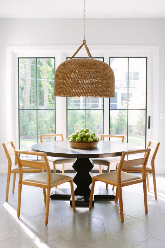 Dining Area | Breakfast Nook Idea | Woven Light | Round Table | Modern Chairs | Light Woods | Brynn Olson | #interiordesign #dining #lighting
