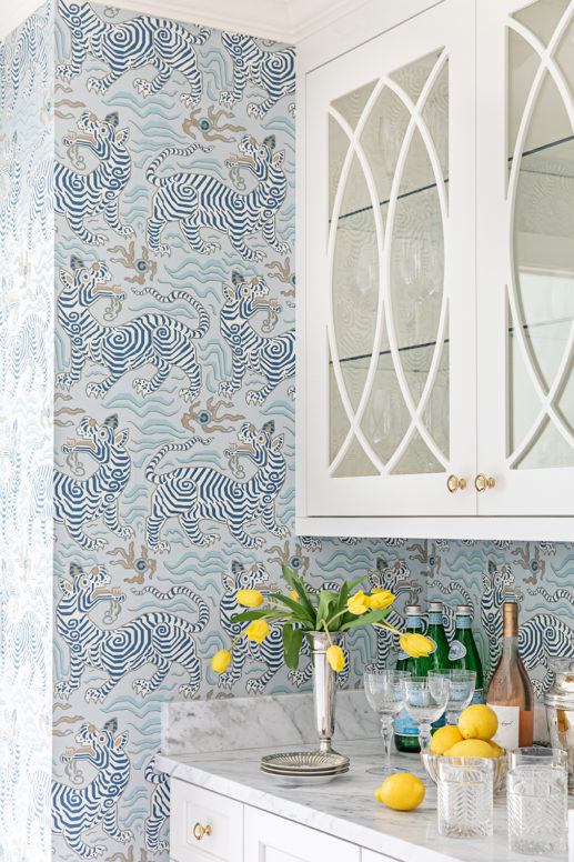 Design and decor trends for 2021: grandmillennial style Chinese wallpaper pattern in the butlers pantry - clary bosbyshell