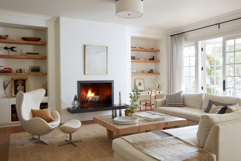 multi functional living room idea with built in shelves and workspace - living room ideas | living room decor | living room design | living room furniture