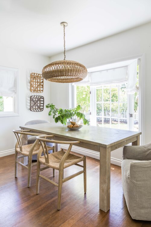 Beautiful modern dining room with beach house style