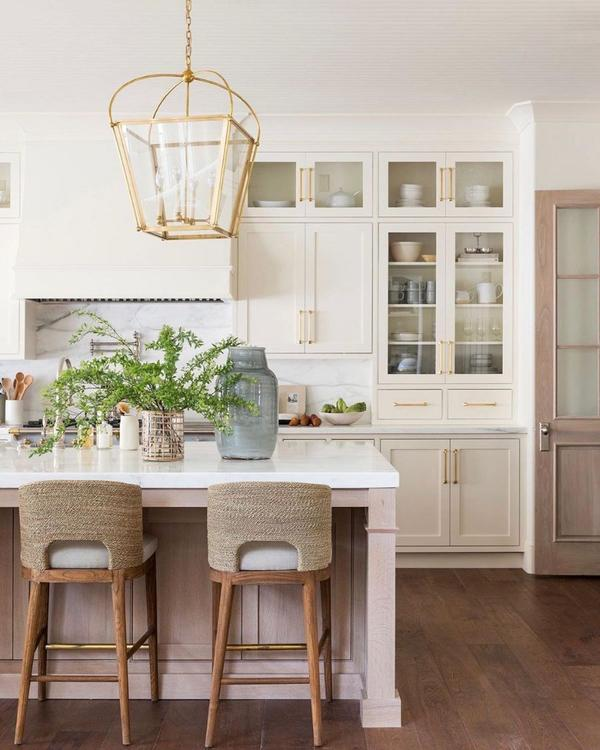 Beautiful modern kitchen design with off white cabinets and woven counter stools - kitchen remodel - kitchen ideas - kitchen decor - kitchen lighting - studio mcgee